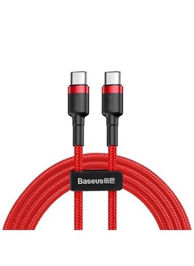 Baseus Cafule Type C To Type C Hızlı Şarj Kablosu 1M - Kırmızı Renkli